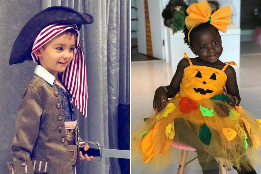 Titi e Alexandre fantasiados para o Halloween