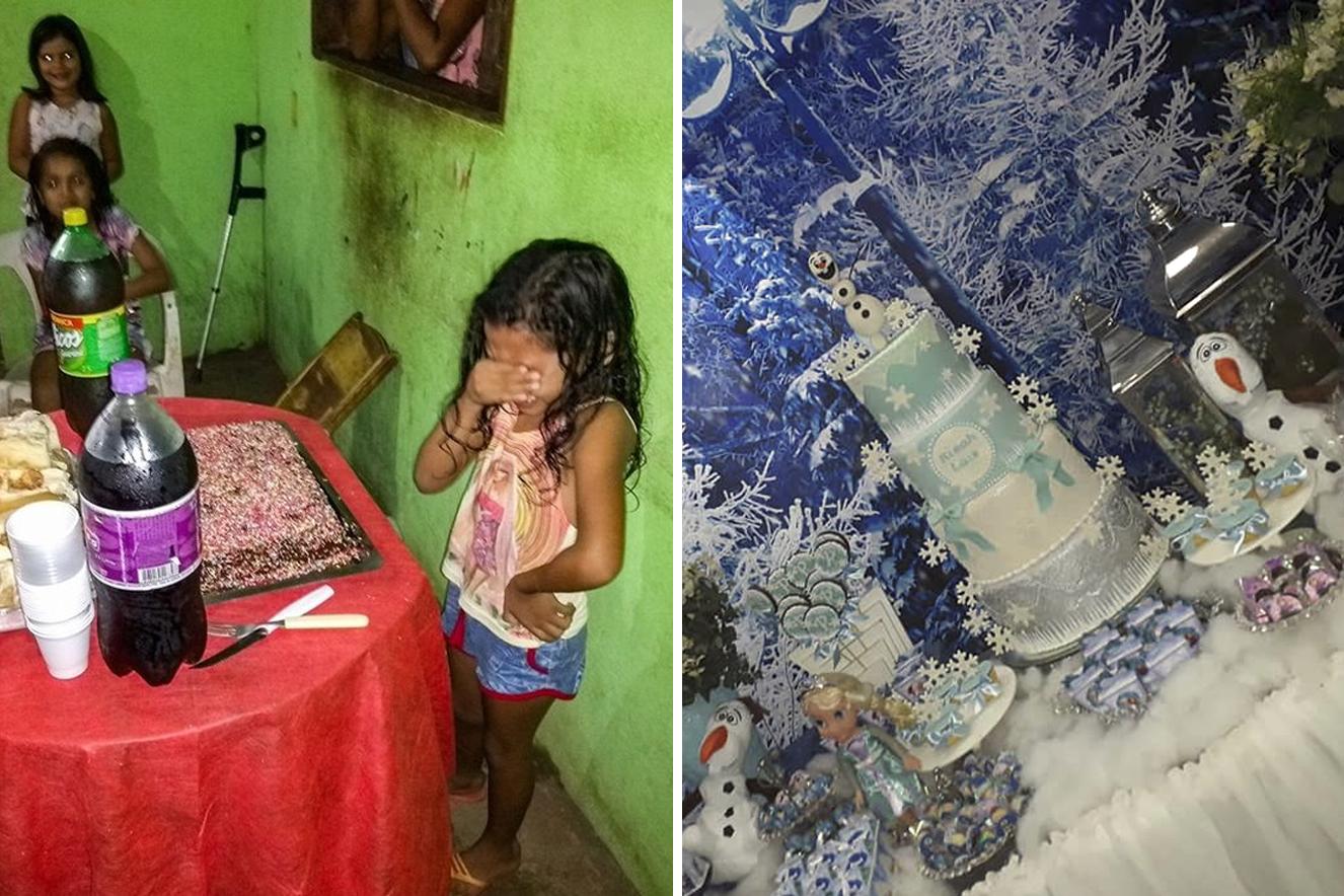 Depois de emocionar a Internet, menina ganha festa dos sonhos