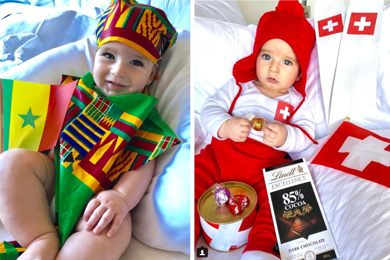 Bebê de 6 meses faz sucesso com looks temáticos da Copa do Mundo