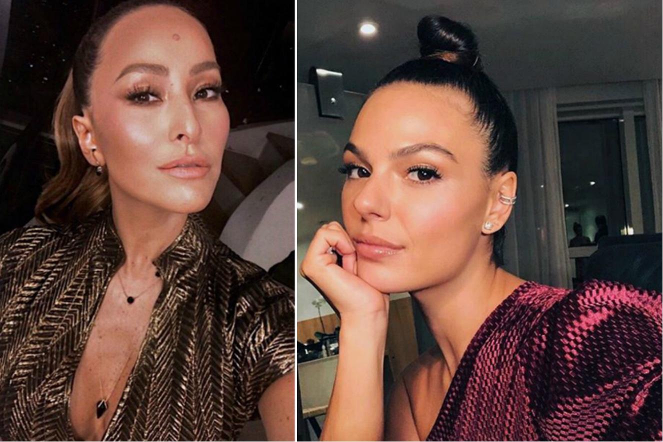 Grávidas, Sabrina Sato e Isis Valverde usam looks metalizados em evento