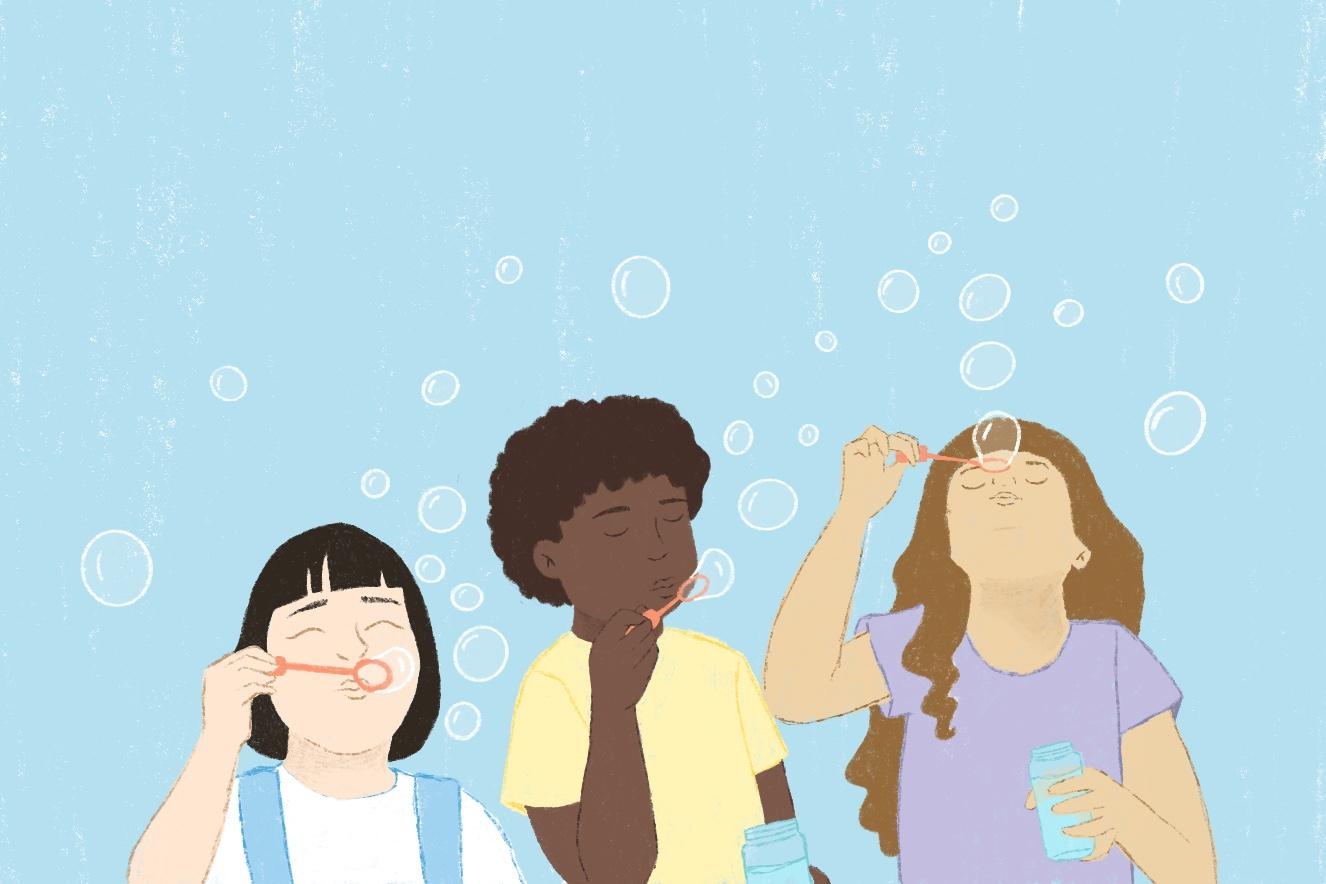 Ilustração crianças soprando bolhas
