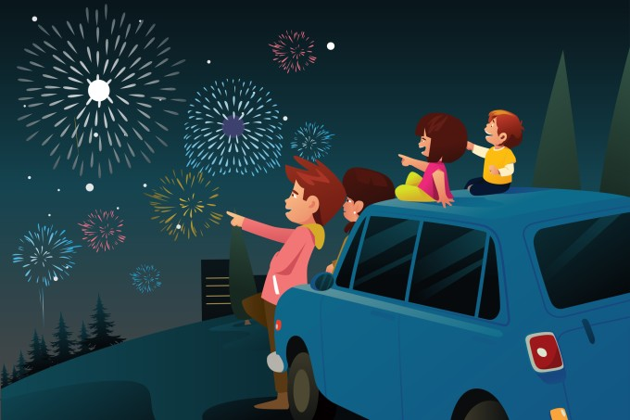 Família vendo fogos de artifício na véspera de ano novo