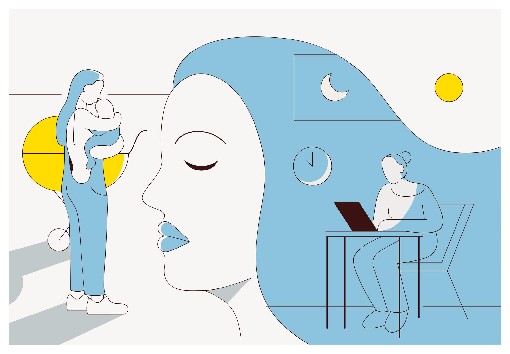 Ilustra mulher trabalhando e cuidado do filho