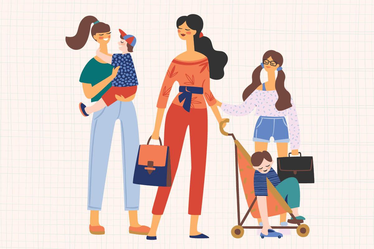 Mães-conversando-em-ilustração