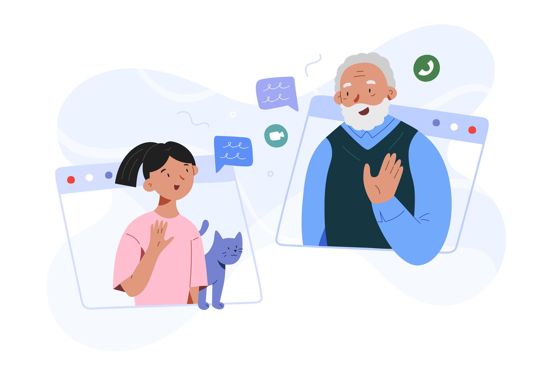 Criança e avô no distanciamento social
