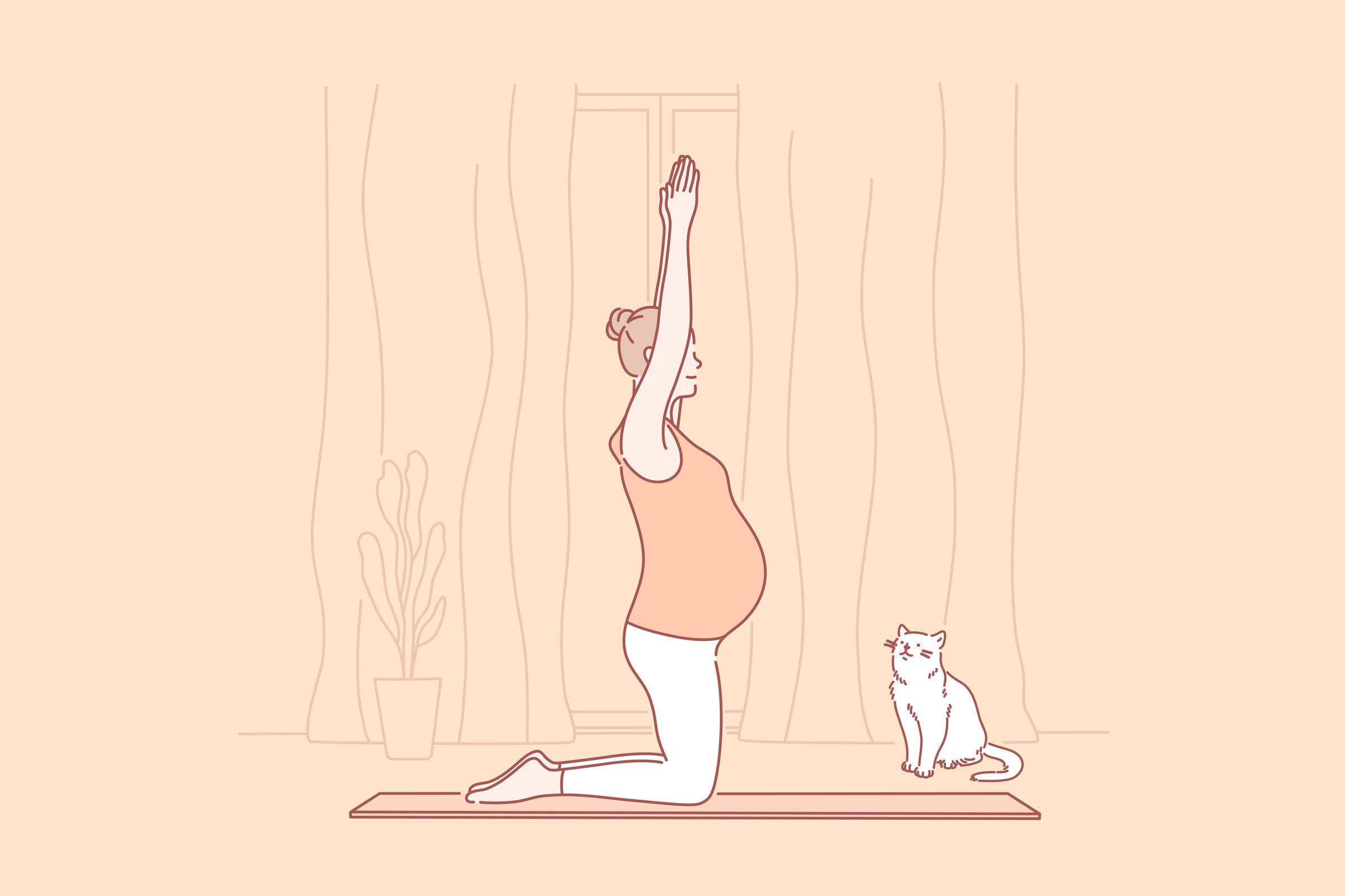 Gestante-fazendo-exercicio-com-o-gato-do-lado