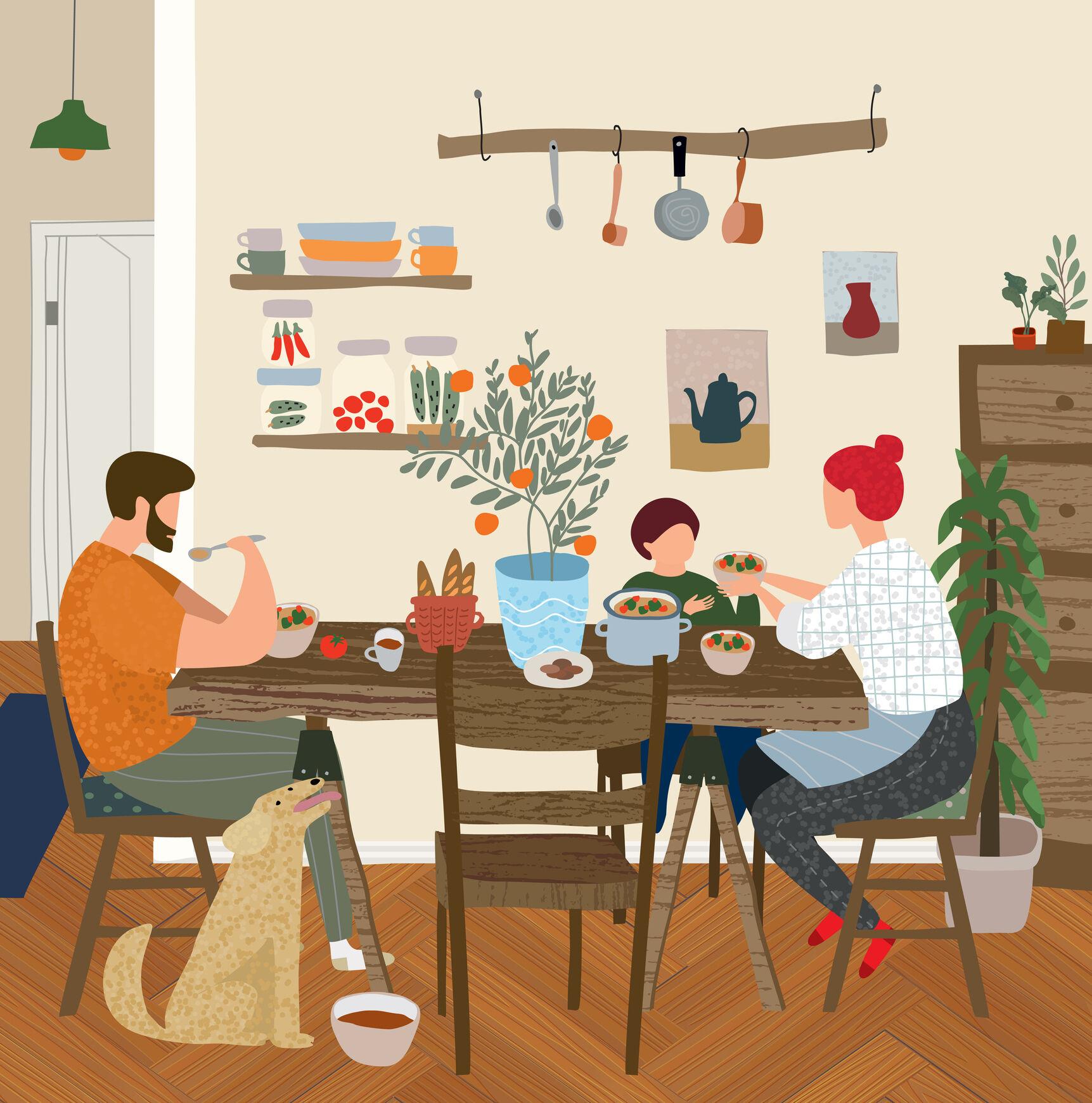 Ilustração de família conversando