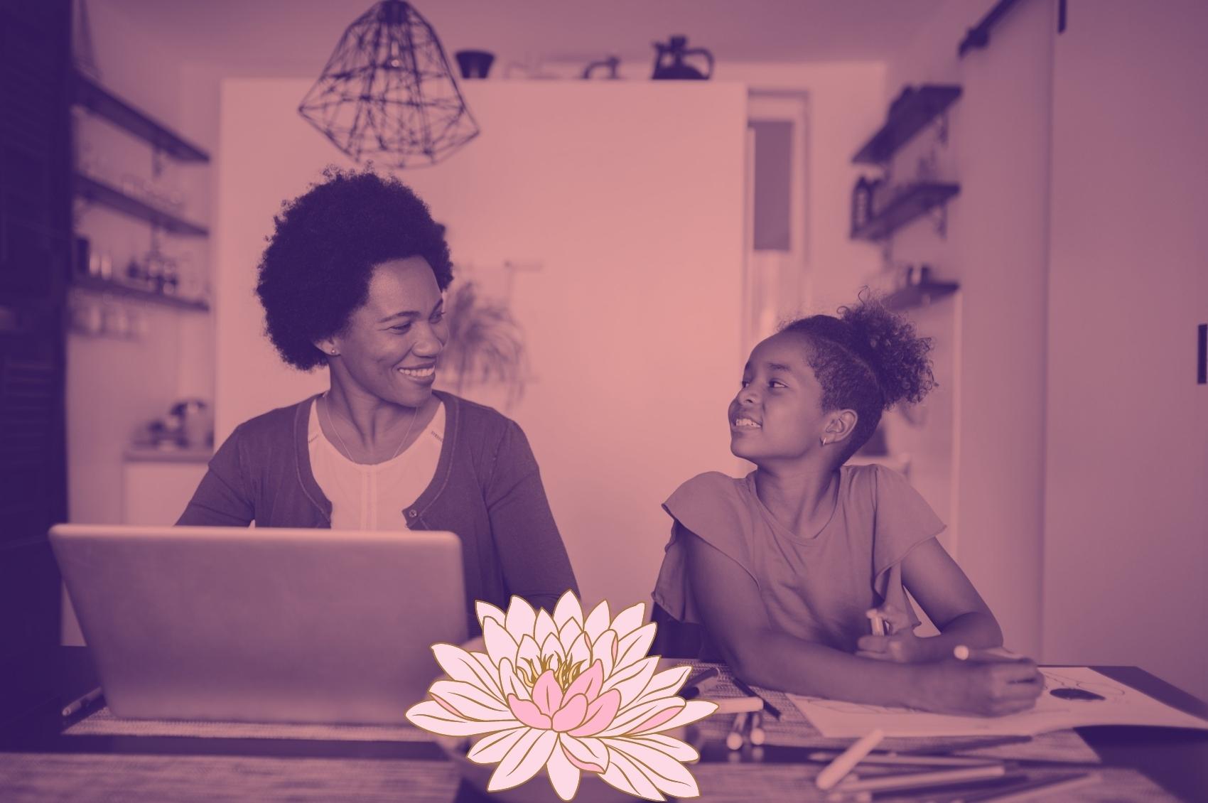 mãe-filha-escrevendo