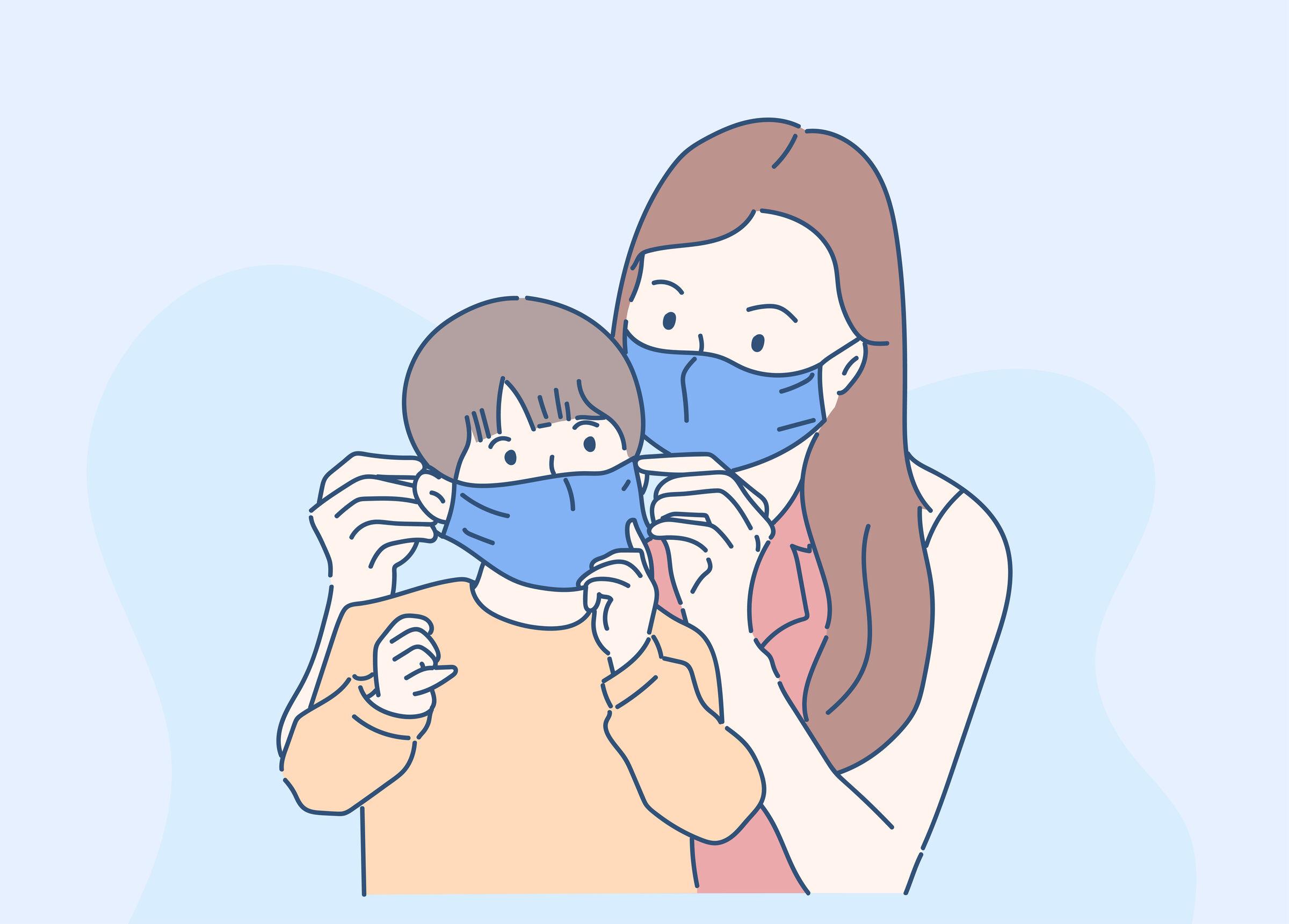 Mãe-colocando-máscara-no-filho