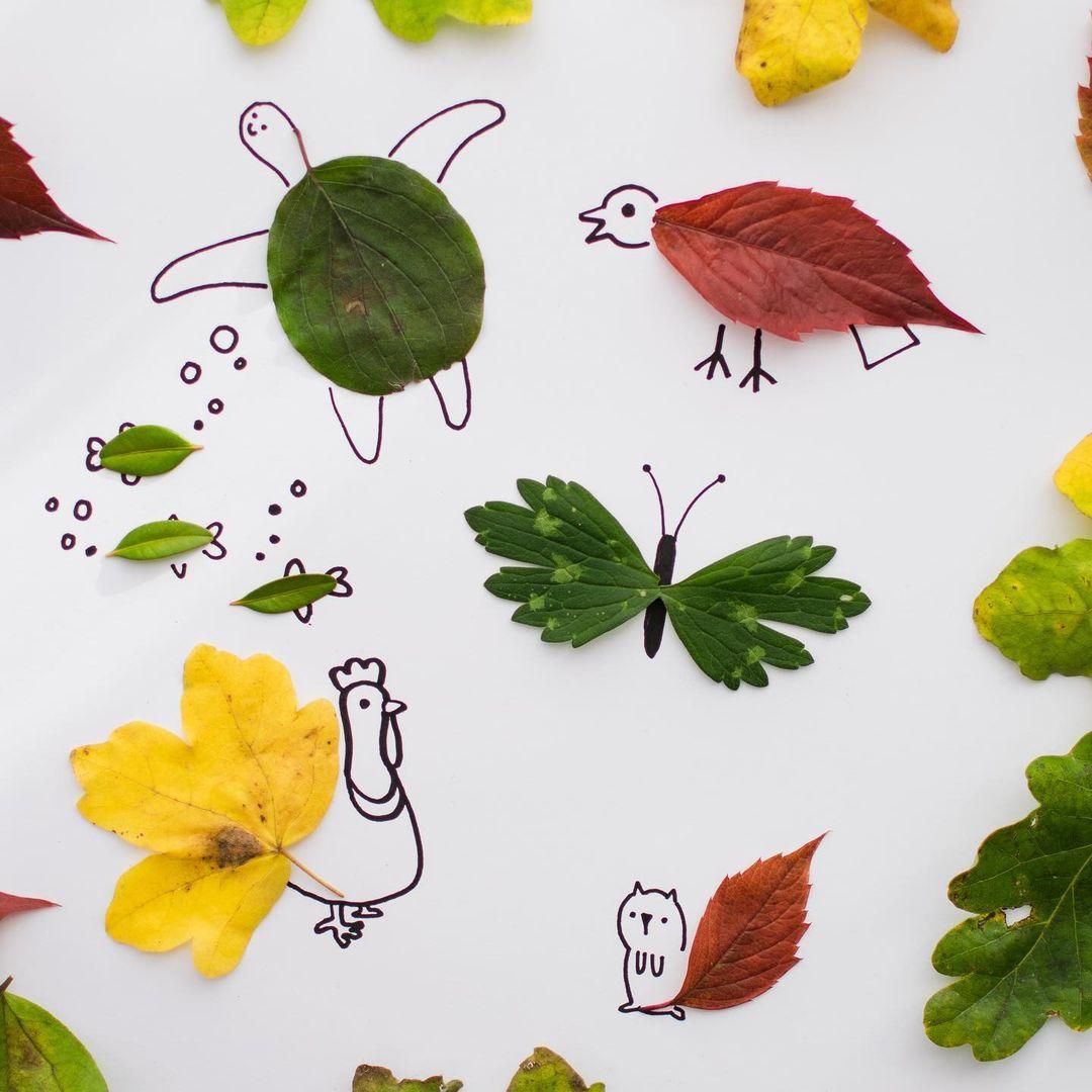 atividade de animais desenhados com plantas