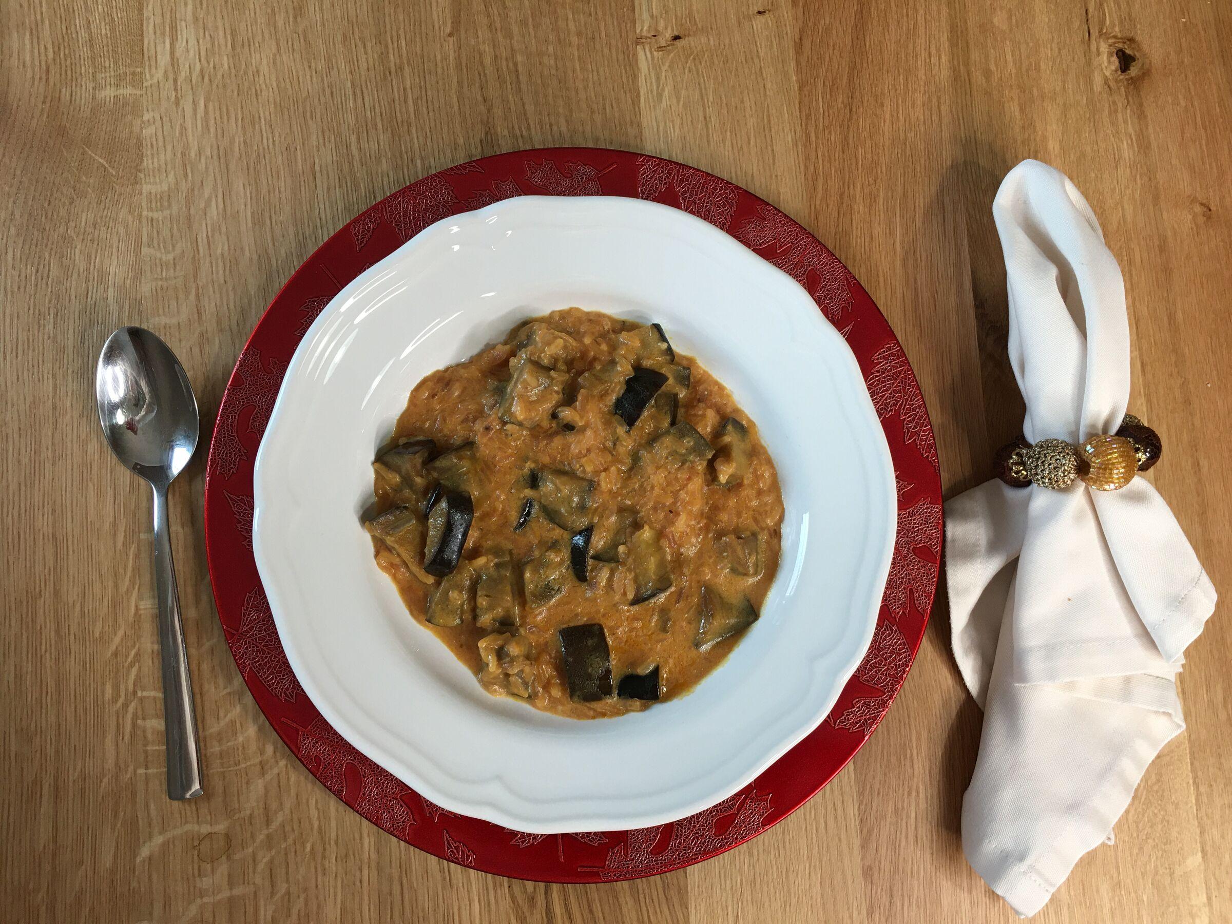 Receitas para o cardápio de inverno da família - risoto de beterraba e berinjela